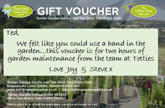 gift voucher for totties garden centre holmfirth
